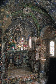 GUERNSEY - CHANNEL ISLANDS..inside the Little Chapel...made entire of broken crockery, cups, saucers, teapot spouts and lids with a few shell here and there...all made by one Monk
