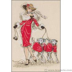 0 point de croix femme en manteau rouge et ses chiens - cross stitch lady in red coat and her dogs 26x39cm aïda 6.4