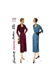 Dress with Tucked Bodice, Collar Variations and Four Gore Skirt, Bust Waist Simplicity 3329 Vintage Sewing Pattern Reproduction Gored Skirt, 50s Dresses, One Piece Dress, Collar Dress, 1950s Fashion, Fitted Bodice, Vintage Sewing Patterns, Skirts, Etsy