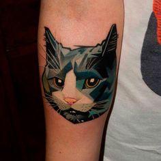 tatouage chat graphique tattoo piercing pinterest aquarelles chats et recherche. Black Bedroom Furniture Sets. Home Design Ideas