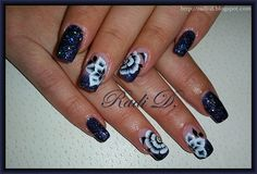 It`s all about nails: Dark glitter polish with one stroke flowers http://radi-d.blogspot.com/2014/11/dark-glitter-polish-with-one-stroke.html