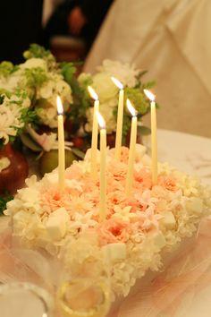 新郎新婦様からのメール サプライズのバースデイケーキの花 オーベルジュ・リル・トーキョーさまへ : 一会 ウエディングの花