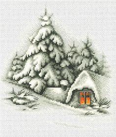 Winter Landscape Cross Stitch Kit | sewandso