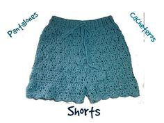 Pantalón, shorts o cacheteros a crochet parte - Crochet Locs Shorts Tejidos A Crochet, Crochet Pants, Crochet Bra, Crochet Bikini Pattern, Crochet Skirts, Cotton Crochet, Crochet Clothes, Diy Clothes, Short Tejidos