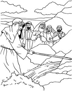 Moses striking the rock to produce water. Bible coloring pages