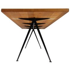 Rare & Large Wim Rietveld Pyramid Table with Rustic Oak Top, The Netherlands, 1959