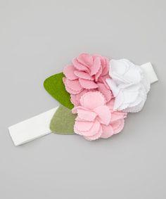 Pink & White Felt Flower Headband