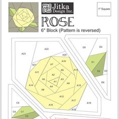 "131 Likes, 28 Comments - Jitka  (@jitkadesign) on Instagram: ""*FREE download pattern on my blog*Made a pattern of simplified rose in 6"" size #paperpiecing…"""