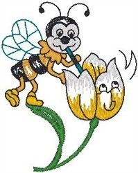 Hirsch Free Embroidery Design: Bee On Flower 3.31 inches H x 2.60 inches W