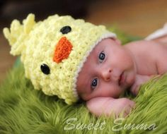 Baby CROCHET PATTERN Spring Chick Beanie with BONUS Hairbow Tutorial (6 sizes included from newborn-adult)