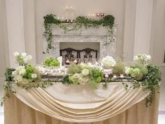 Mantelpiece decoration with candles and greenery Wedding Reception Tables, Wedding Sets, Green Wedding, Flower Centerpieces, Flower Decorations, Wedding Decorations, Table Decorations, Bridal Flowers, Flower Bouquet Wedding