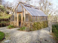 12 x 18 Tudor redwood and glass Greenhouse on a stone base #RaisedGarden