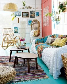 Ideas para decorar tu casa con estilo bohemio- sala de estar