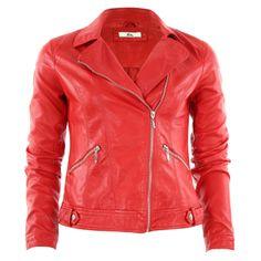Optez pour une touche de rock avec cette veste style biker en simili cuir, fermeture asymétrique, 2 poches zippées, manches longues avec poignets boutonnés.