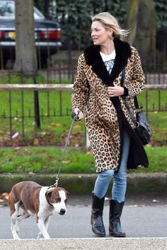 Who: Kate Moss What: A Long Leopard Coat Why: The super has long shown her affection for a great animal print, selling the idea recently in a long, lean, contrasting collar leopard coat. Get the look now: Topshop coat, $170, topshop.com.