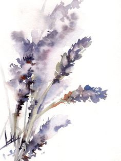 Lavender Painting, Original Watercolor Painting, Purple Floral Watercolour Modern Art
