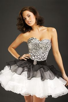 The short zebra print prom dress 6584 with tulle skirt-dance on the wild side!