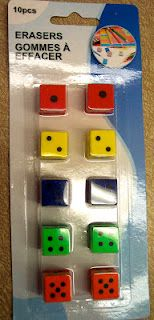 """Quiet""Dice Games (these are erasers....Dollar Tree!) MUST FIND THESE!!!!!!!"