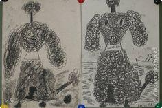 Картина панно рисунок Рисование и живопись Пудели углём Рисуют дети  Картон фото 1