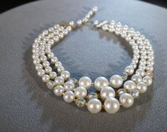 Vintage 16 Inch Faux Pearl and Aurora Borealis Glass Bead Necklace with Etched Gold Tone Clasp  B