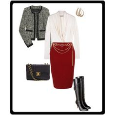 Currant color Skirt, Tweed Jacket, Boots, Ivory Blouse