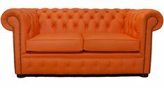 Chesterfield 2 seater Mandarin Orange leather sofa from Designer Sofas 4 U  $922.39