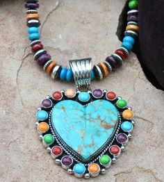 Navajo Turquoise and Multi-Gemstone Heart Pendant.