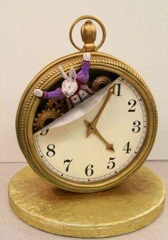 Alice In Wonderland White Rabbit Clock Cake