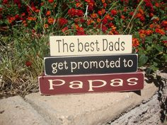 The best dads get promoted to Papas, Mini Wood Blocks, Fathers Day blocks, Wood sign, Grandpa Blocks, Grandpas, Wood Stackers by DeannasCraftCottage on Etsy