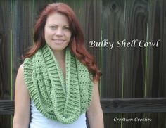 Stylish Bulky Shell Cowl: a free crochet pattern- So honored to be pulling this pin off of the Lion Brand Board!!!!  Thanks Lion Brand