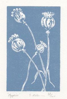 poppies blue 32856