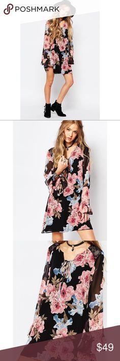 New black floral boho dress with Lace back Limited quantity Danalli Dresses Mini