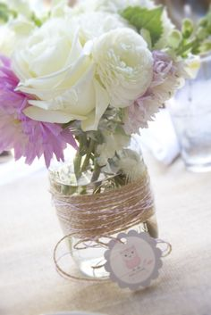 I like the twine idea and I think I want wild flowers - Original Pin: baby shower, sip & see, mason jar flower, ball jar flower