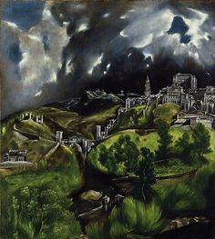 'View of Toledo', by El Greco c.1596-1600, Oil on Canvas. It's very rare to find an isolated landscape in the spanish paintings during the Renaissance and even during the Baroque. This makes El Greco the first landscaper in the history of Spanish art. Regarding its enigmatic symbolism, it is thought that it could be related to the mystic spirit that the city was involved during those times.
