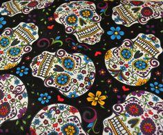 Fabric Sugar Skulls Half Yard 18 x 44 Day of by GoofingOffSewing