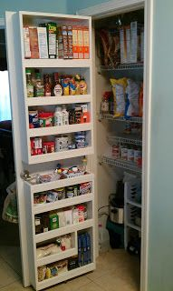Small Pantry Door Best Small Pantry Closet Ideas On Pantry Door Rack Pantry Storage With Sliding Doors Tall Pantry Storage Cabinets With Doors Small Pantry Door Organizer Pantry Door Storage, Pantry Door Organizer, Spice Storage, Diy Kitchen Storage, Diy Kitchen Decor, Kitchen Organization, Organization Ideas, Storage Shelves, Pantry Shelving