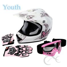 d057c844f63 TCMT DOT Youth Pink Butterfly Dirt Bike ATV Helmet Motocross Goggles Gloves  L     You can find more details by visiting the image link.