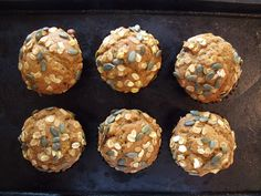 cafe-style pumpkin muffins with rolled oats and pu...