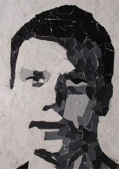 Torn paper portraits - use a picture that is black and white and add the paper…