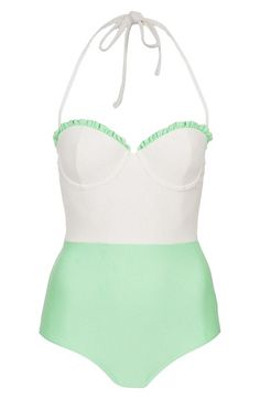 top shop one-piece swimsuit / mint and white