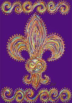 fleur de lis flag Leis, Diy Canvas, Canvas Art, Tattoo Painting, Louisiana Art, French Royalty, New Orleans Mardi Gras, Mardi Gras Party, Pictures To Paint