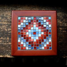 Sunshine and Shadow Mosaic Trivet in Red and Periwinkle by Margaret Almon of nutmegdesigns