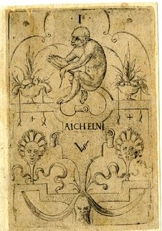 Playing-card, the ace of monkeys -- Print made by Virgil Solis, c.1550