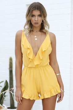 Sunshine Frill Playsuit (Mango) | Xenia Boutique | Women's fashion for Less - Fast Shipping