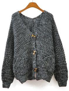 Grey V Neck Long Sleeve Pockets Knit Cardigan EUR€22.98