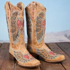 Corral Tan Peace Sign Boot Peace Love and Cowgirl boots I smile every time I see them.