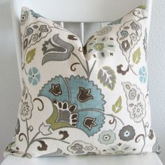 Decorative pillow -pillow cover - throw pillow - 18x18 - favell in lagoon - botanical - aqua - white - taupes - Same Fabric on Both Sides. $49.99, via Etsy.