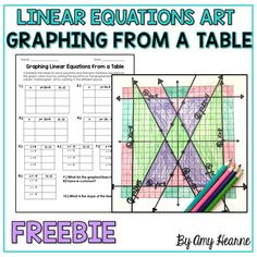 Graphing Linear Equations From a Table Art Activity Graphing Linear Equations From a Table Art… by The Positive Math Classroom by Amy Hearne High School Activities, Graphing Activities, Science Activities For Kids, Graphing Worksheets, Math Games, Math Art, Fun Math, Maths, Math Fractions