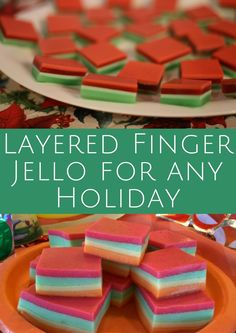 Make delicious Layered Finger Jello for any Holiday with this recipe.  Perfect for a New Years Eve Party, Christmas dinner and Fourth of July Picnic!
