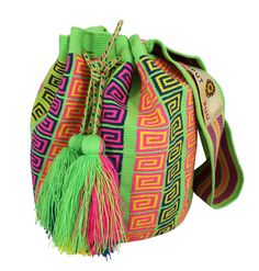 Why fit in when you were born to stand out! One of our beautifully colored, handmade bags can help you do just that. Single thread Putchipuu bucket bag, hand crocheted by the women of the Wayuu people Tapestry Crochet Patterns, Tapestry Bag, Diy Purse, Hand Crochet, Crochet Bags, Crochet Fashion, Different Patterns, Handmade Bags, Bucket Bag